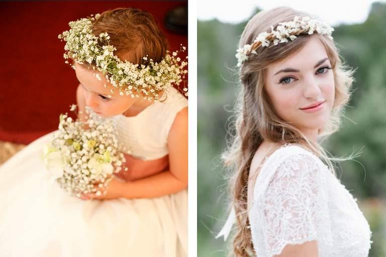 coroa de flores para dama de honra e noivas