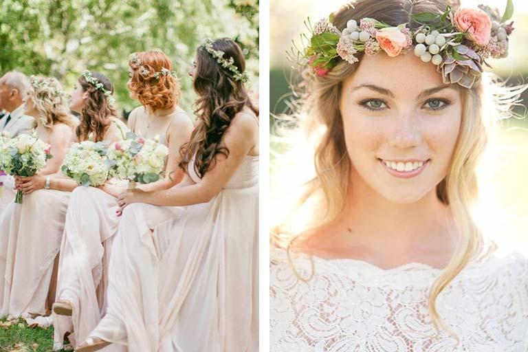 coroa de flores para noivas e madrinhas