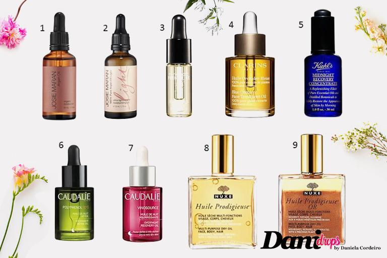 óleo para rosto de várias marcas
