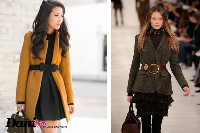 casaco amarelo, cinto e vestido preto e casaco cinza com cinto de couro marrom e saia preta moda outono inverno 2017