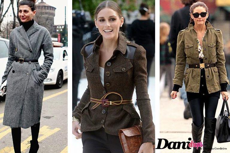 casaco sobretudo cinza com cinto preto, cassaco e cinto marrom, casaco verde com cinto e saia preta e botas de couro preto moda outono inverno 2017