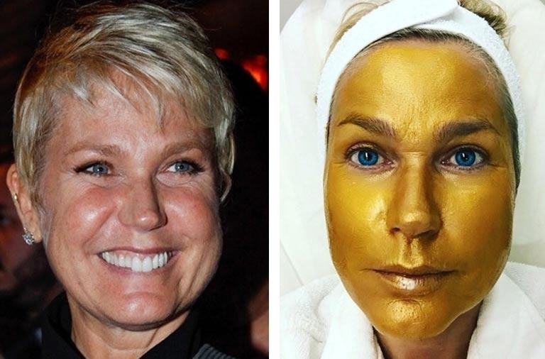 máscara facial dourada