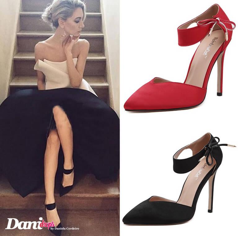 sapato scarpin vermelho e preto