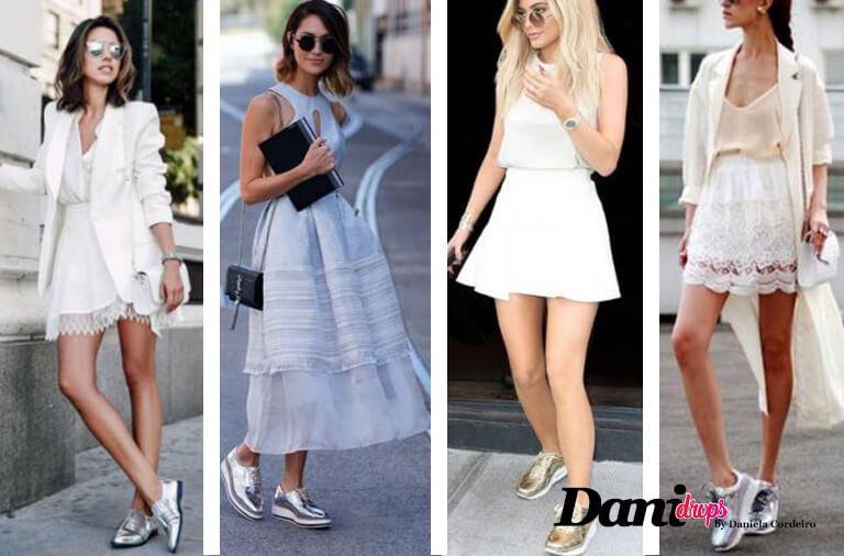 blogueiras com tênis de metal e sapatos prateados