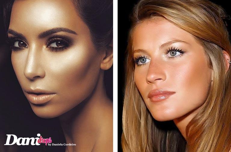 Gisele Bündchen e Kim Kardashian usando um make com Iluminadores Faciais