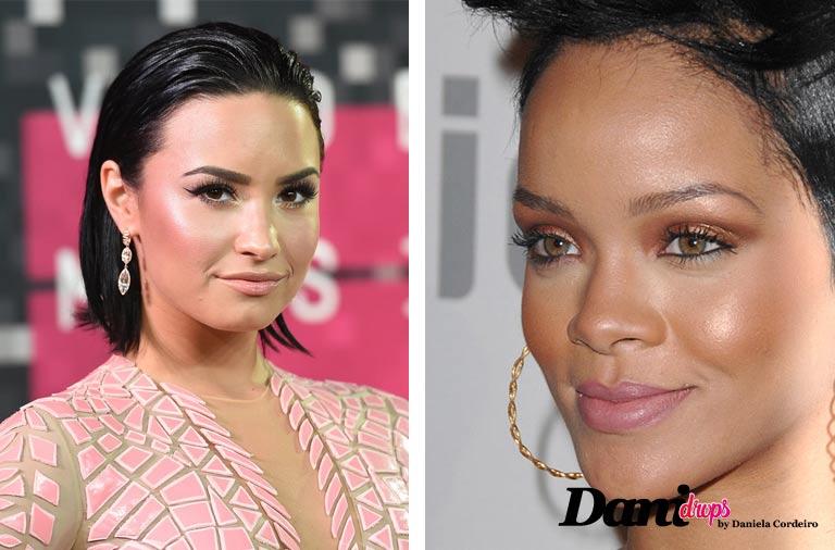 Demi Lovato e Rihanna usando iluminador facial