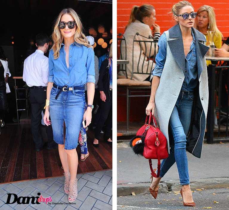 Olivia Palermo com a Tendência Look Total Jeans