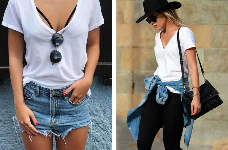 Looks Short Jeans e Camiseta Branca