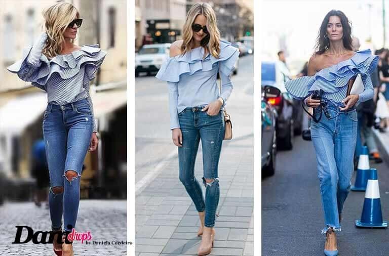 calça jeans destroyed com blusa azul com babados