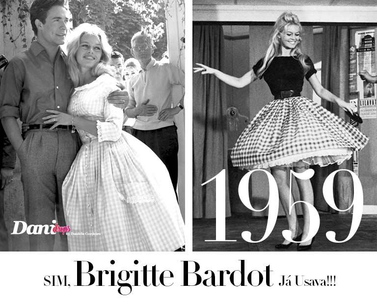 brigitte bardot 1959 com Estampa Xadrez Vichy