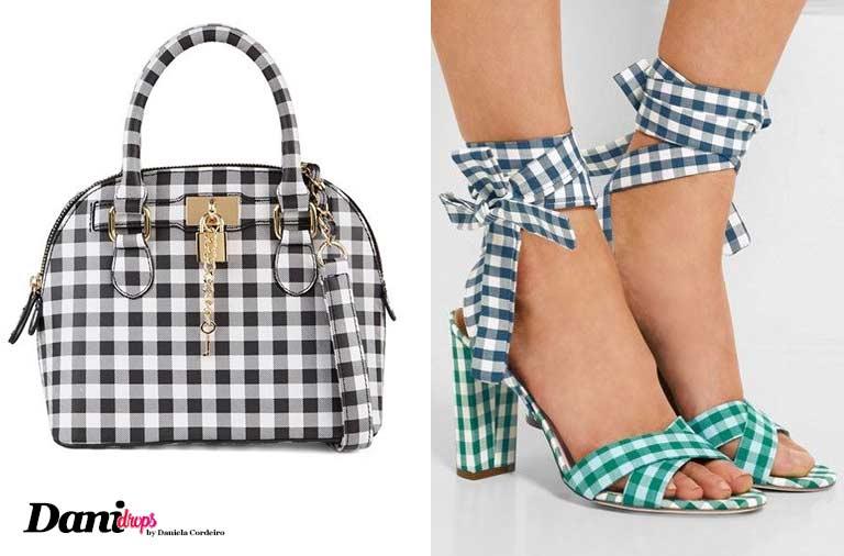 sapato e bolsa com estampa xadrez vichy