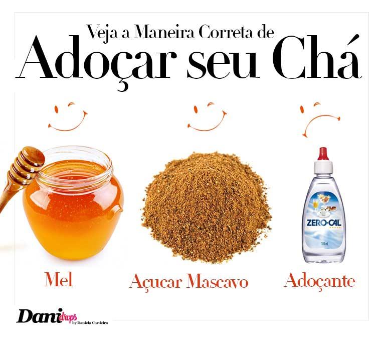 como adoçar seu chá, com açúcar mascavo, mel ou adoçante