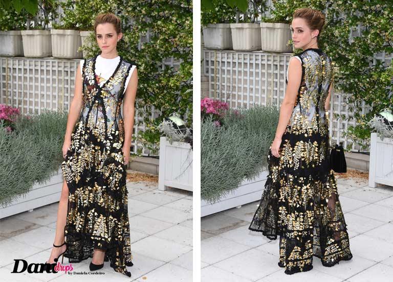 vestido Transparente dourado