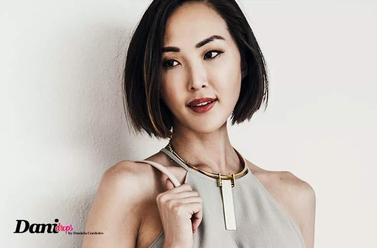 Chriselle Lim usando corte de cabelo Blunt Cut
