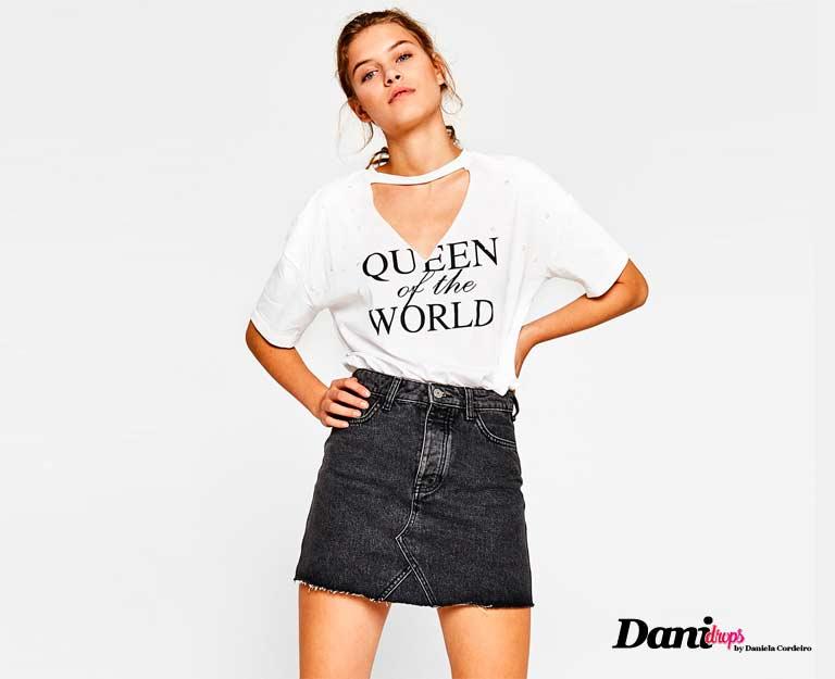 Camiseta Shocker com Saia Jeans