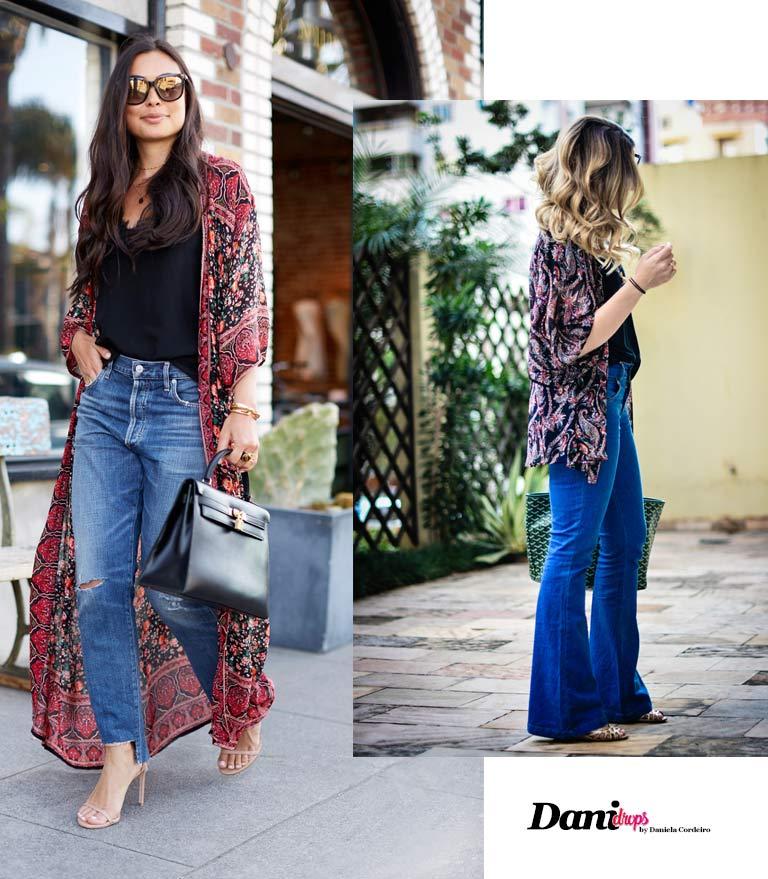 Kimono com calça Jeans