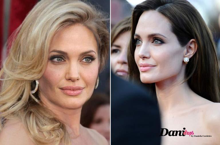 Angelina Jolie com cabelo chocolate