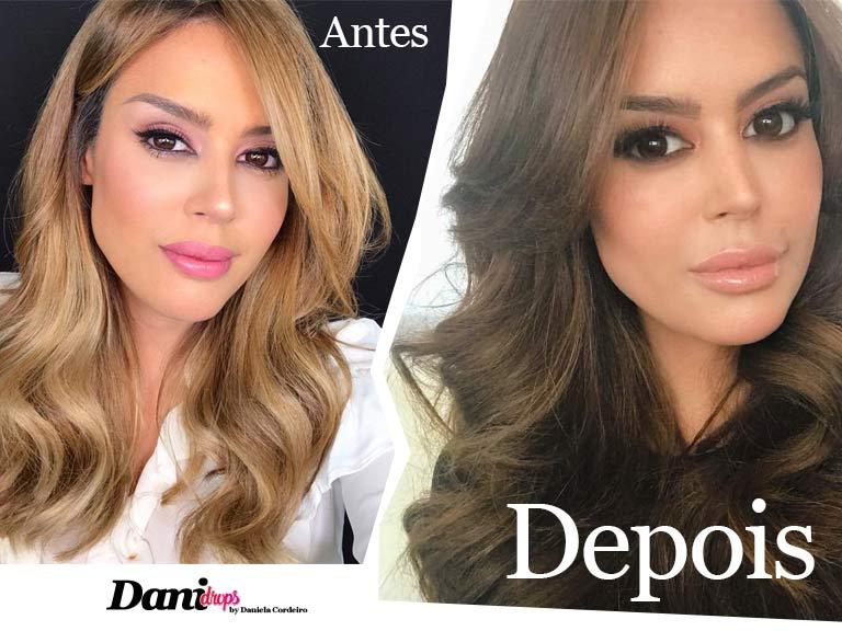 antes e depois de Renata Meins pintar o cabelo de chocolate