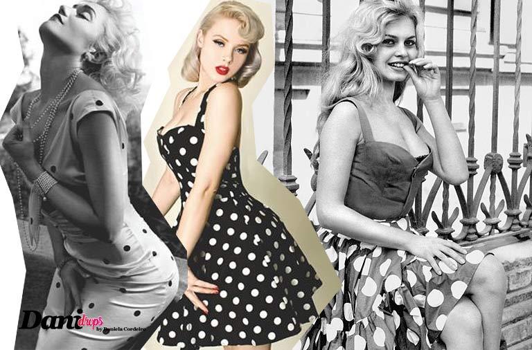 Marilyn Monroe e Brigite Bardot com vestidos com estampa de poá