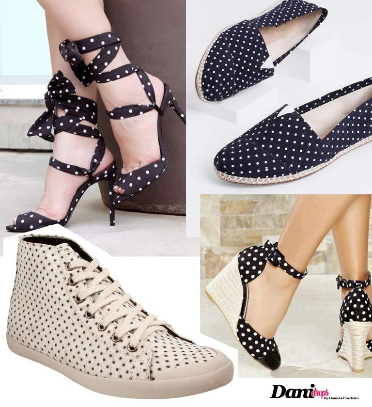 Sapatos com estampa de Poá