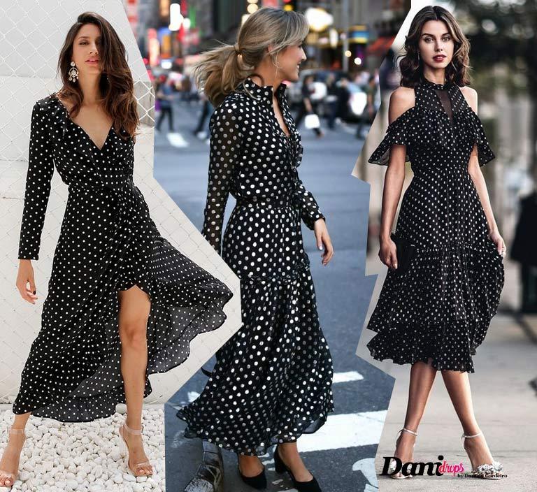 vestido longo preto com Estampa de Poá