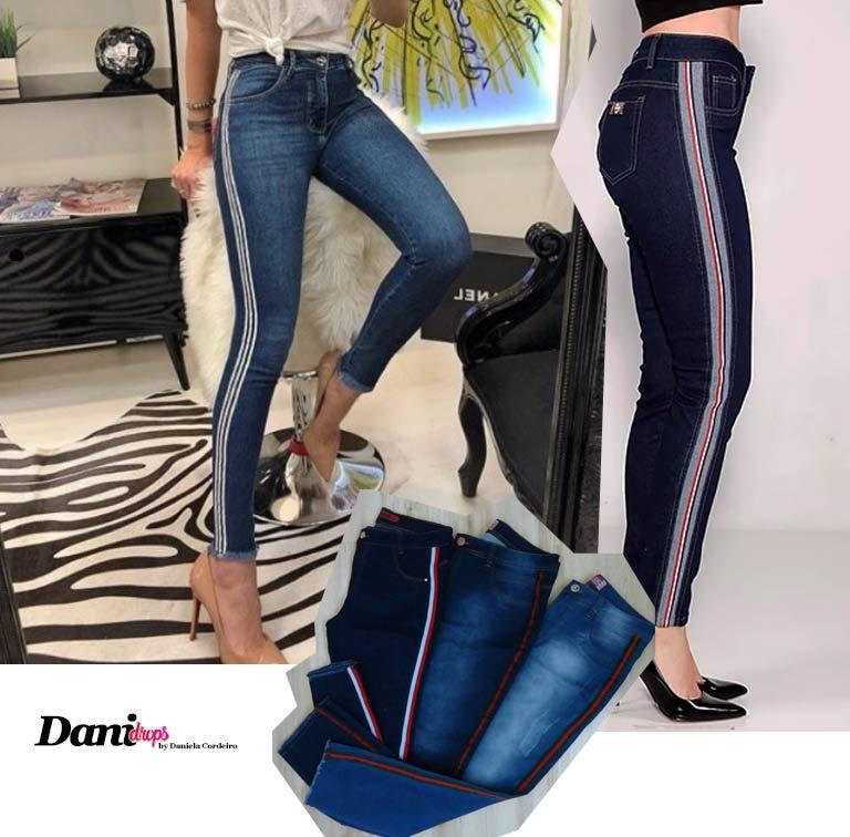 Calça jeans com Faixa Lateral