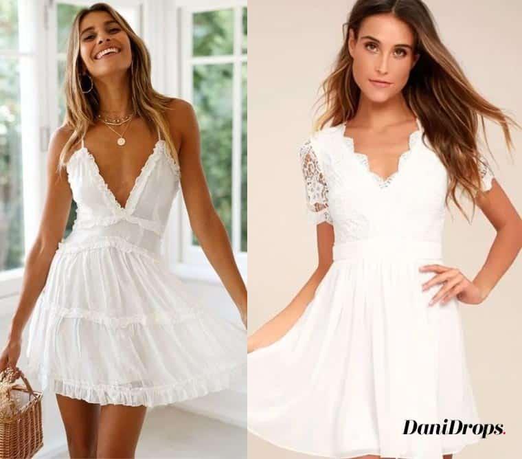 Vestido de renda branca com decote em V