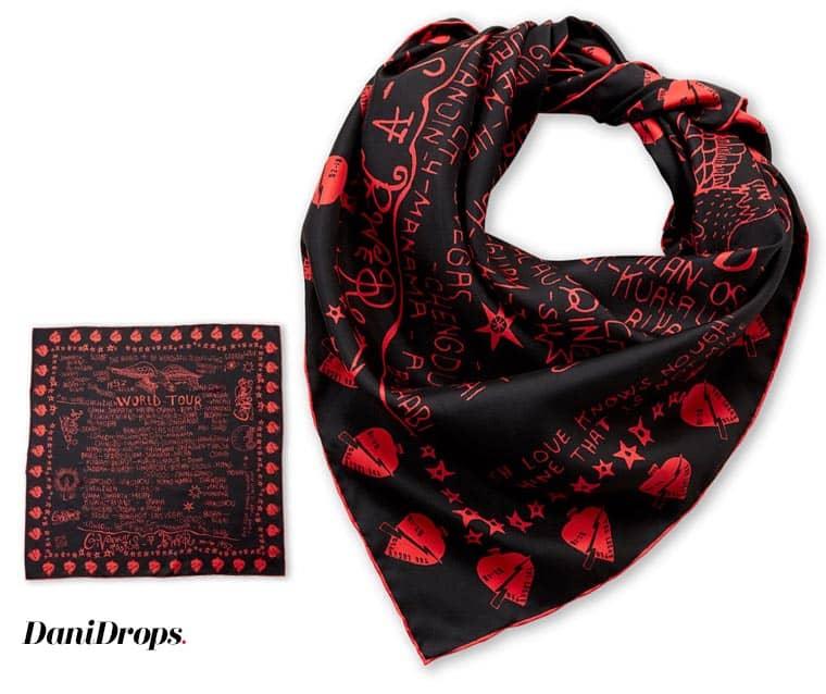 Lenço preto e vermelho da turnê mundial da Givenchy