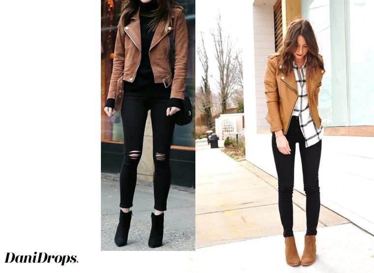 calça preta com jaqueta marrom