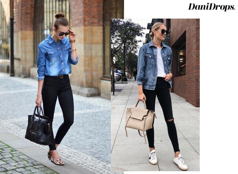 calça  preta com jenas azul