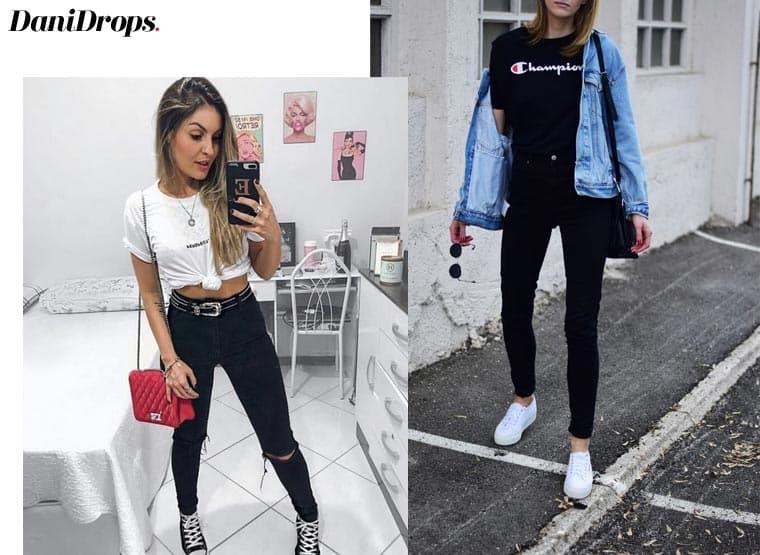 jeans preto casual