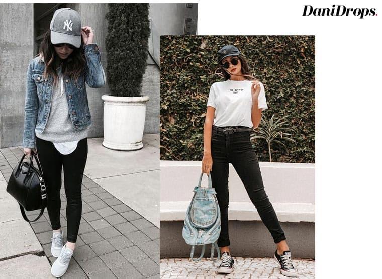 jeans preto e boné