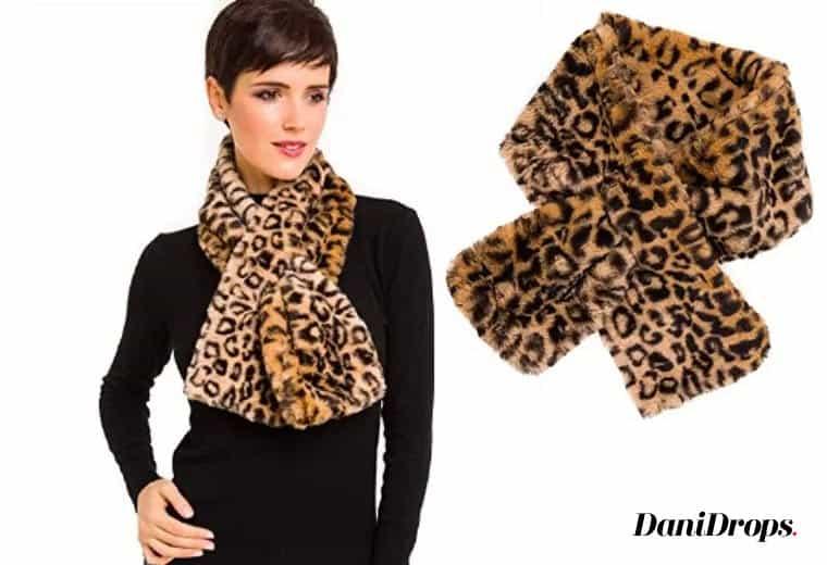 Leopardo Faux Fur Scarf pescoço encolher de ombros