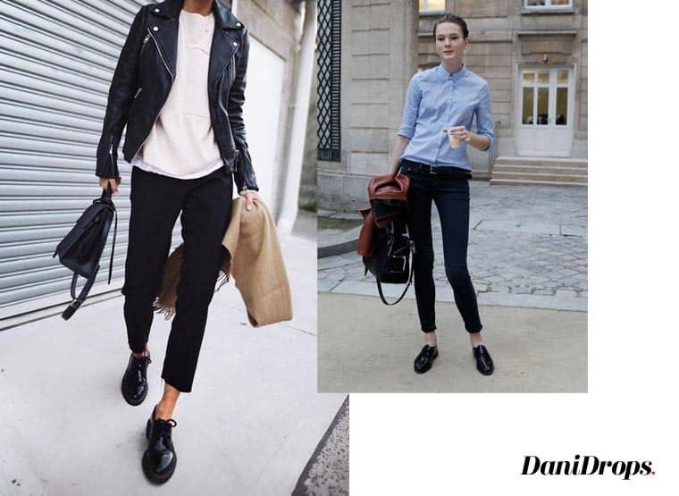 mocassins e jeans preto